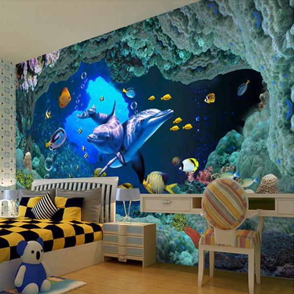Muro Mundial sob encomenda da foto 3D Wallpaper Underwater Pintura Wallpapers para sala de estar Quarto Crianças Quarto Mural decoração Home