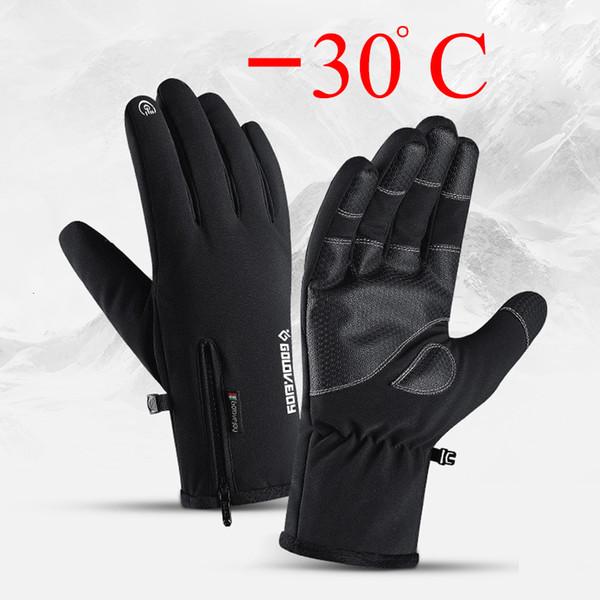 Inverno Tela luvas impermeáveis toque Anti-Slip Zipper Luvas Homens Mulheres equitação esqui Aqueça Fluff Luvas confortáveis espessamento T191112