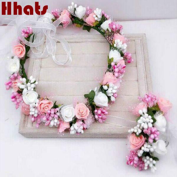 Handmade party festival foam floral hair accessories artificial flower women girl wedding wreath crown garland handwrist sets