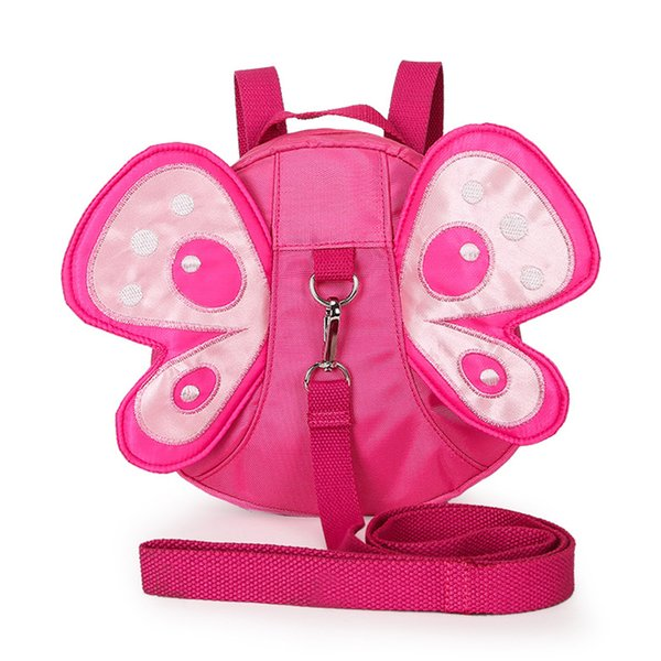 Girls Backpack With Pulling Rope Nylon Children Striking Butterfly Large Capacity Anti Lost
