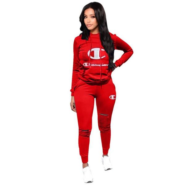 Buracos mulheres Ripple Treino Campeão Hooed Hoodies calças justas Leggings calças Suit Casual Outfits CHAMP Sportswear Jogger Vestuário C8906