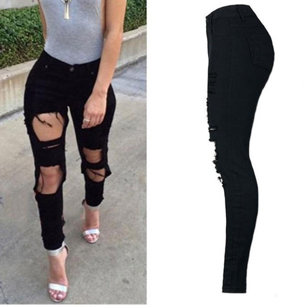 Womens Ripped Jeans Black White Blue High Waisted Elastic Trousers Knee Skinny