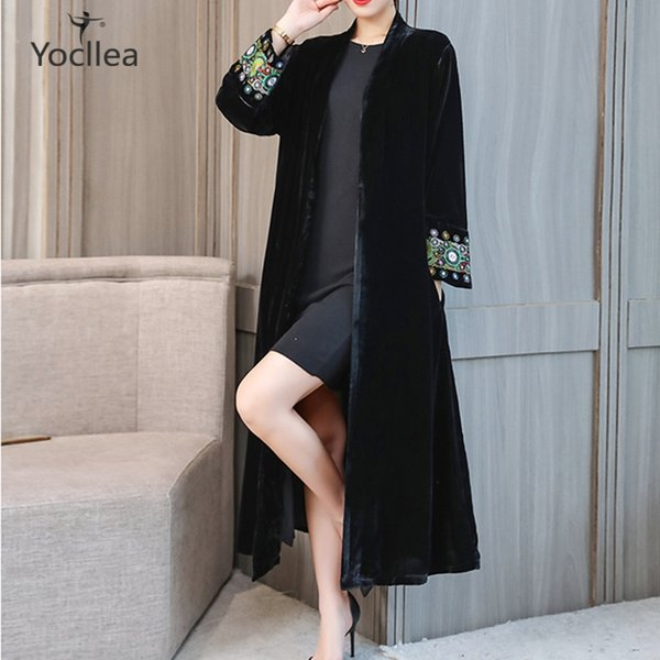 Elegant OL Embroidery Velour Open stich Trench Coat long for Women Warm winter Large size 4XL velvet trench Tops Overcoat Autumn