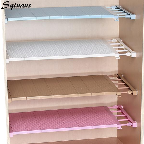 2019 Sqinans Adjustable Closet Organizer Bathroom Cabinet Holders Kitchen  Storage Rack Wardrobe Shelf Wall Mounted Kitchen Shelf From Supper007, $4.9  ...