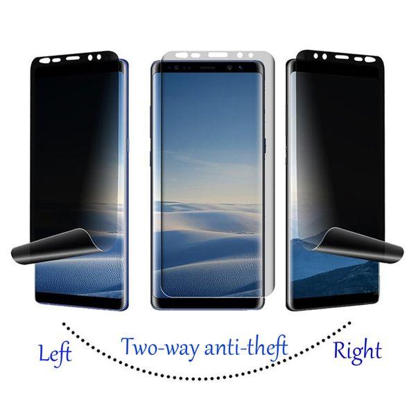 Película anti espía de pantalla completa de TPU curvada PARA: Samsung Galaxy S8 S9 S10e Note 8 9 PLUS 180 ° película protectora para la privacidad del teléfono móvil