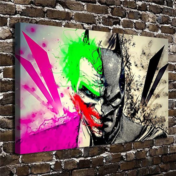 Batman, Joker, 1 pezzi Stampe su tela Pittura a olio di arte della parete Home Decor (senza cornice / con cornice)