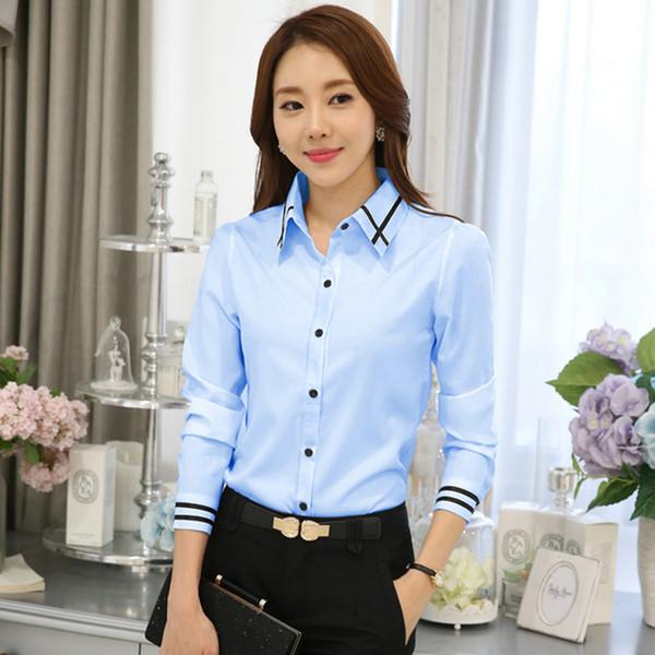 OL Work Wear White Blue Blouse Plus Size Long Sleeve Turn-down Collar Formal Elegant Ladies Female Shirt Ladies Tops School
