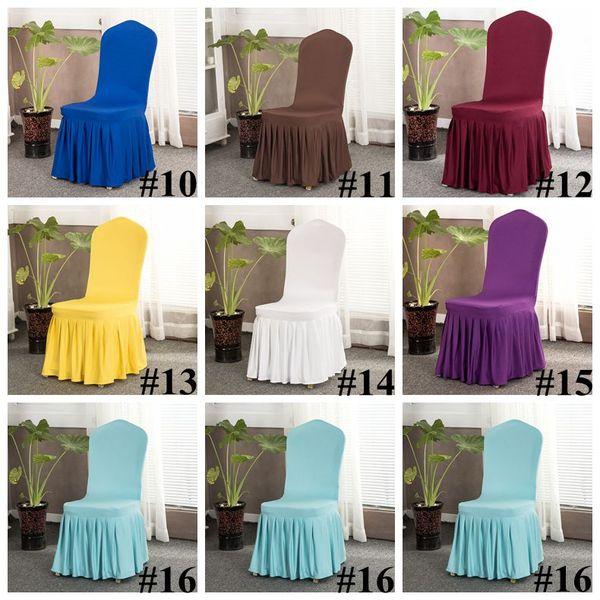 16 Farben Feste Abdeckung Stuhl mit Rock All Around Stuhl Bottom Spandex-Rock-Stuhl für Party Bedecken Dekoration Stuhl Abdeckungen CCA11702 10pcs