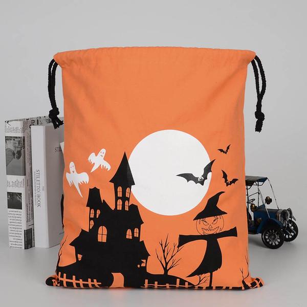Con asas de Halloween Candy Bag regalo saco a tratar o del truco Impreso bolsas de Todos los Santos de la Navidad del regalo del festival del partido