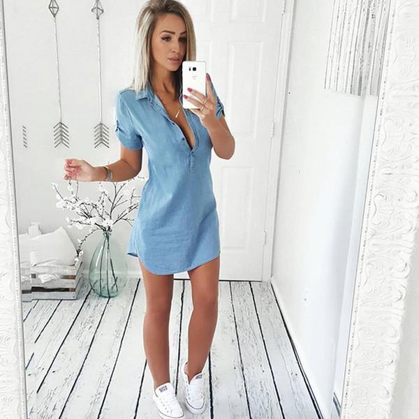 Summer 2018 Fashion Women Sexy Deep V Neck Shirt Dress Casual Buttons Short Sleeve Denim Irregular Dresses Vintage Loose Vestido Y190117