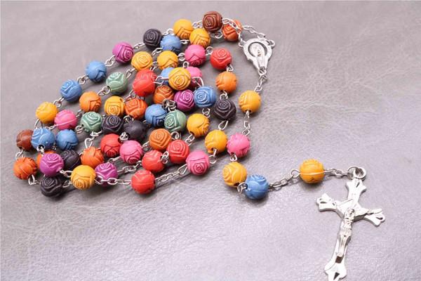 Rosa de resina de 8 mm. Cadenas y collares de rosarios multicolores, rezo cristiano en una cadena de cuentas Cadenas y collares, Maria blessi