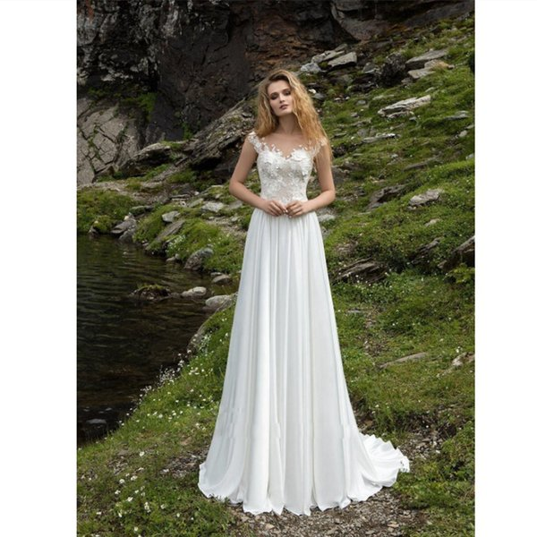 Simple White Chiffon Wedding Dresses 2019 Sexy Backless Beach Bridal Dresses Cap Sleeves Lace Country Bridal Gowns Custom Boho Wedding Gowns