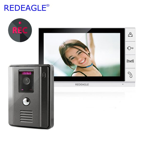 REDEAGLE 9 inch LCD Home Wired Video Door Phone recording Intercom Entry Security System with Wide Angle Camera MAX. 32GB Record