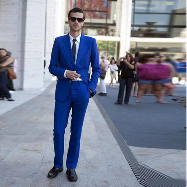 2018 Royal Blue Two Button Slim Fit Wedding Tuxedos Notched Lapel 2 Pieces Men's Formal Blazer(Jacket+Pants)