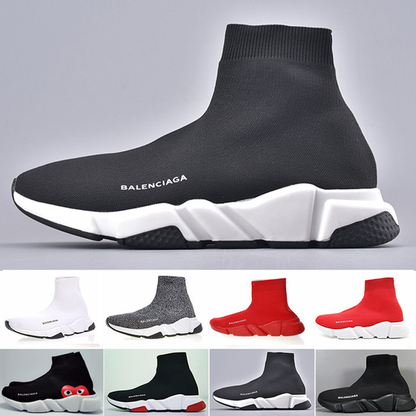 2019 New Paris Speed Trainers Knit Sock Shoe Original Designers Mens Womens Sneakers Cheap High Top Quality Casual Shoes With Box XC22