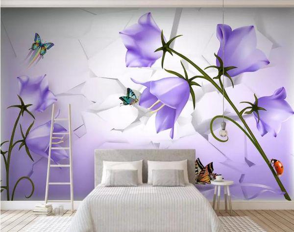 Пользовательские Mural Обои 3D Мягкие Красивые мечтательные фиолетовый цветок бабочки Роскошные Обои Отель Гостиная ТВ Фон Murales De Pared 3D
