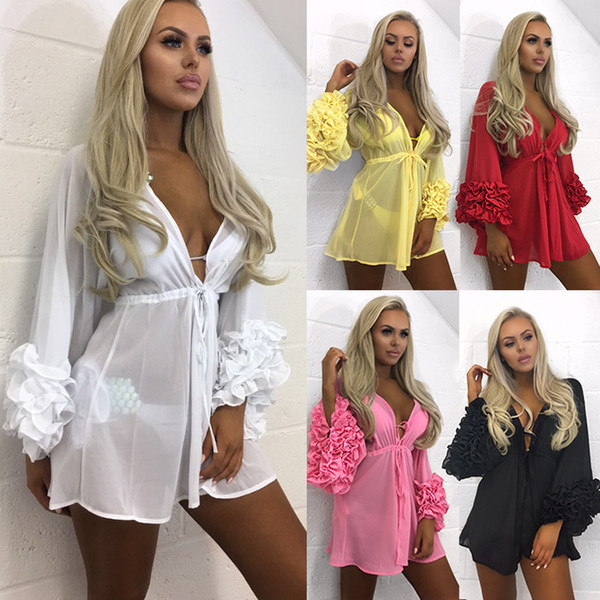 Vestido de playa Mujer 2019 Volantes de verano Ropa de playa de malla de manga larga Vestidos Traje de baño Traje de baño Vestido de bata Sexy Robe Femme