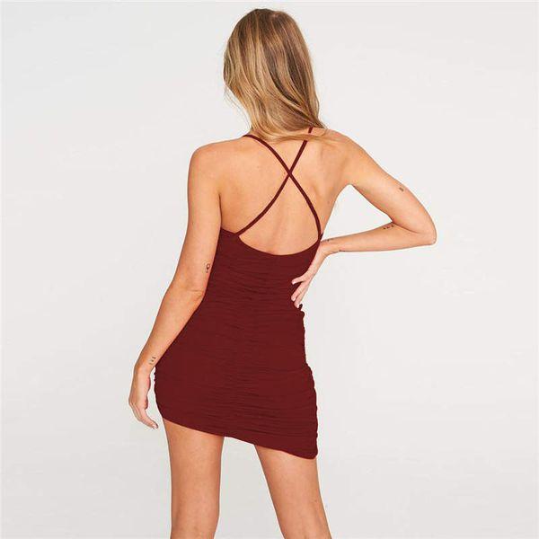 Sexy Sling Backless Fold Damen Kleid Damen Kleidung Sommerkleider Dessous Frau Maxikleider Damen Designer Röcke Roben d'été Dropship