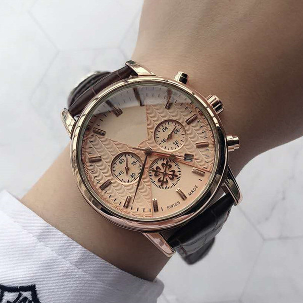 TOP Moda Acero inoxidable Cuarzo Hombre Reloj de cuero Japón Movimiento de PP Relojes de pulsera de oro rosa Reloj masculino de marca Artículos de lujo Montre luxe