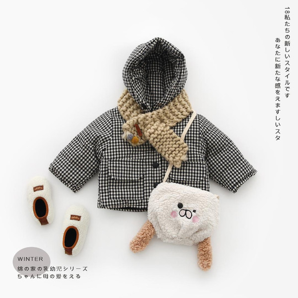 best selling Mihkalev Pattern plaid baby girl clothes winter infant girls hooded Clothing children lattice jacket and coat toddler outerwear