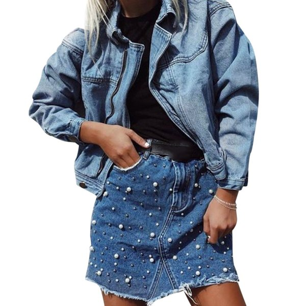 Women Denim Skirts Pearl Beading Jeans Skirt Irregular High Waist Pocket Button Denim Skirt Casual Female Summer Mini Saia Jupe
