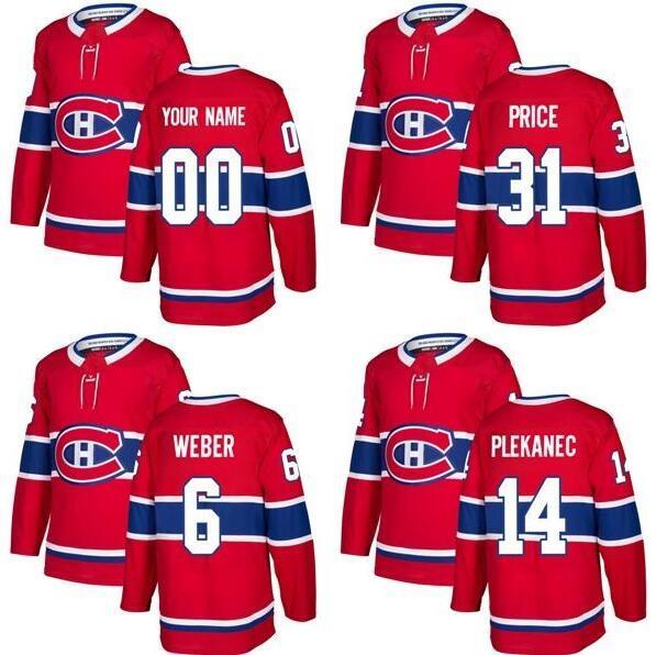 جديد تماما بالغين مونتريال كندينس 6 شيا ويبر 14 توماس بلانيك 31 كاري سعر أفضل جودة الأحمر هوكي الجليد الفانيلة استعرض مخصص