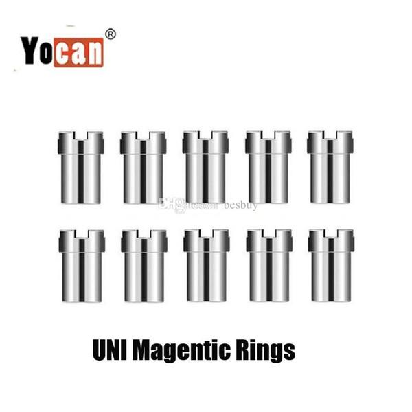 Auténtico Yocan Uni Handy Magnet Connector Ring Adaptador magnético de acero inoxidable 510 Cartuchos de aceite grueso para Uni Battery Mod Original
