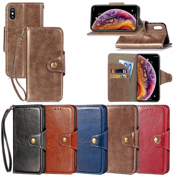 Luxus Ledertasche Für iPhone XS MAX XR 8 7 6 Plus Flip Wallet Hülle Für Galaxy S10 Note 8 S9 Wallet Cover