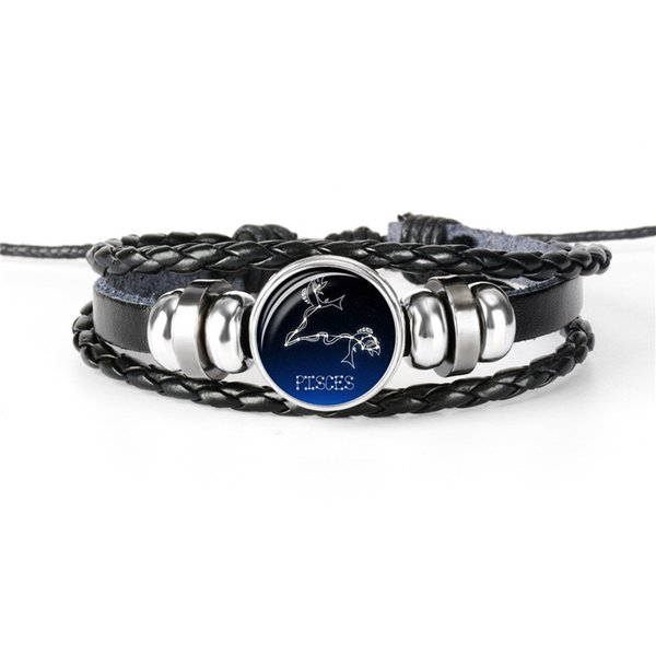 Hot European Cheap 12 Constellations Zodiac Pisces Time Gem Glass Cabochon Leather Rope Beaded Bracelets For Women Men Gift Jewelry pulseras