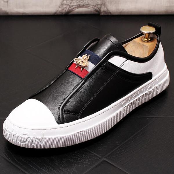 Kuhfell kleine weißer Schuh loafer Schuh Freizeit-Brettschuhe neue weiche Sohle Schuh Stylist elastischer Gürtel Biene Stern Schuhe V84