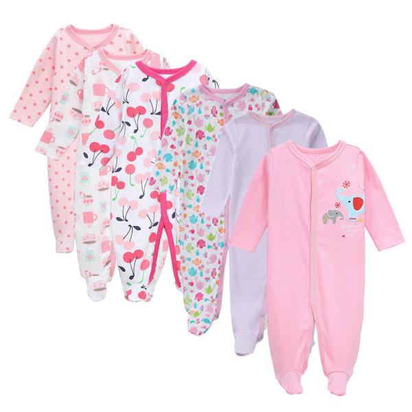 Livraison gratuite 3/4/5 / 6pcs / set coton bébé barboteuses nouveau-né fille vêtements manches longues combinaison roupas Infantis Menino salopette J190705