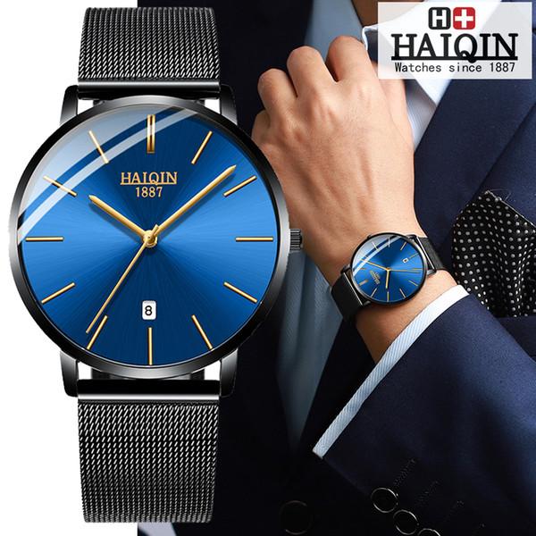HAIQIN Couple Watches Mens watches Top  watch men gold waterproof sport women wrist watch  Reloj hombres NEW