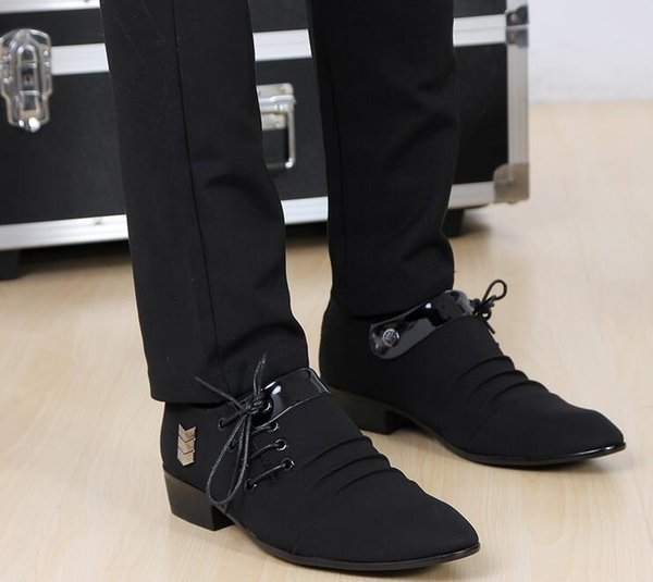 Best sell celebrity style black lace-up buckles cusp shoes dress shoes men's casual groom party wedding shoes