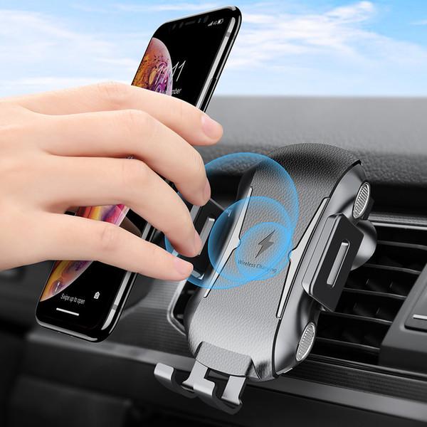Carregador sem fio Carregamento automático Carregador de carro Suporte de montagem Carregador rápido para iPhone Samsung Telefones universais