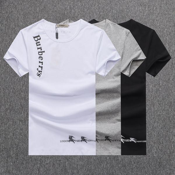 Nuevas Camisetas de Alta Calidad # 5539 Hombres de Manga Corta Ocasional O-cuello de Algodón Hip Hop Verano Hombres Moda Carta Imprimir Camiseta Camisetas
