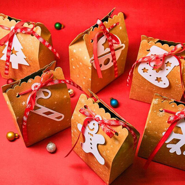 Sacchetto del regalo di Natale Candy Box Cookie Scatole Scatole di Natale e sacchetti di imballaggio confezioni regalo Forniture di Natale decorazione AN2829