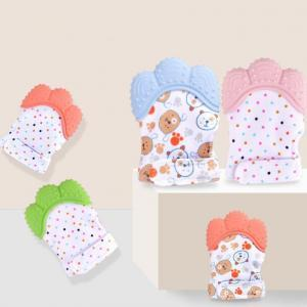 Baby Silicone Teether Glove Cartoon Bear Newborn Teething Nursing Mittens Chewable Nursing Beads for Infant OOA6233