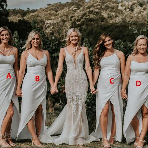 Sexy split Bridesmaid Dresses with spaghetti Long summer Boho country beach Maid of Honor Gowns Plus Size Wedding prom party Guest Wears