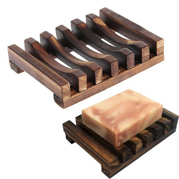 Natural Wooden Bamboo Soap Dish Tray Holder Storage Soap Rack Plate Box Container for Bath Shower Plate Bathroom TC190723