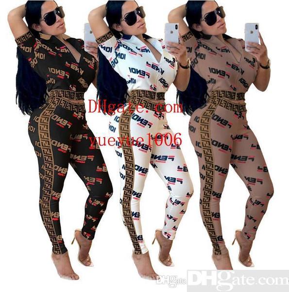 2019 Novo Treino Mulheres 2 Peças Set Outwear Camisola Com Zíper Listrado Causal Manga Longa Camisola Calças Compridas Mulheres s Conjuntos