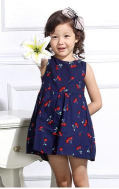 Spring, summer, new Korean version of girl's children's printed binding rope Cotton high-end boutique sleeveless vest dress for children