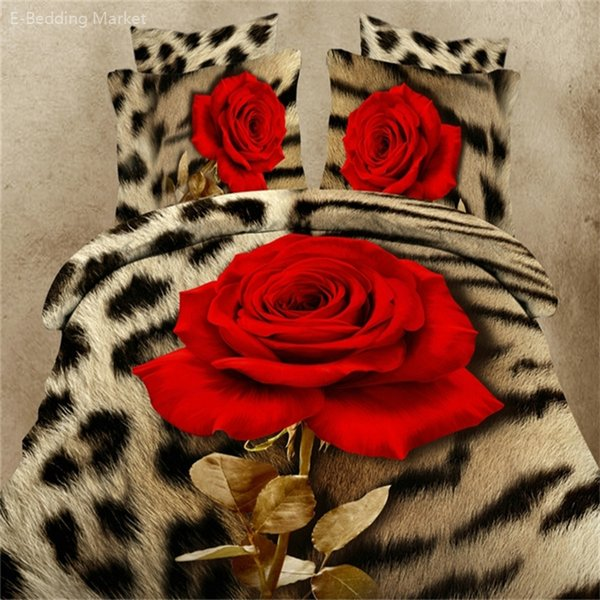 Wholesale 3d Leopard Rose Flowers Series Bedding Set High Quality Cotton Bed Linens Bedclothes 4pcs Duvet Cover Set Queen Size