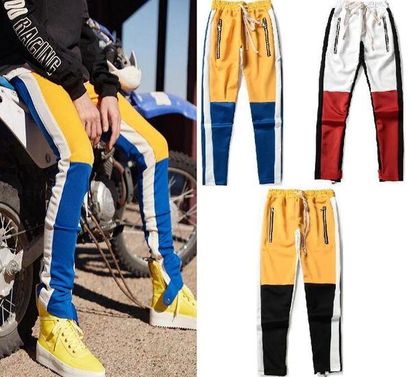 Tanrı Korkusu Erkekler Pantolon Elastik Bel Yan Fermuar Patchwork Streetwear Renk Eşleştirme SIS Pantolon OOA6735