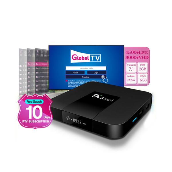 10 gün ile TX3 mini tv kutusu Avrupa fransa İNGILTERE İtalya için ücretsiz iptv abonelik Arap 4000 + canlı kanal android tv kutusu 2 gb 16 gb