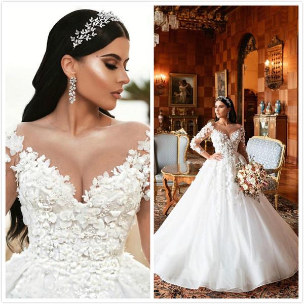 2019 Lace Árabe Frisado Vestidos de Casamento Sheer Neck Mangas Compridas Vestidos de Noiva Flores Feitas À Mão Vestidos De Casamento ZJ306