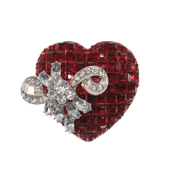 HOT SALE Valentine's Day Gift Silver Tone Red Love Heart with Bow Shape Brooch Pin For Girl