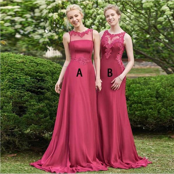 Gorgeous Red A Line Chiffon Abiti da sposa 2019 Sheer Neck Appliques Pieghe lunghe da sposa Guest Party Gowns Custom Made