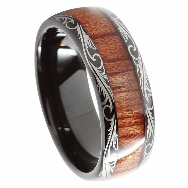 8mm Black Tungsten Carbide Ring Koa Wood Inlay Dome Matching Wedding Bands Men's Jewelry T190624