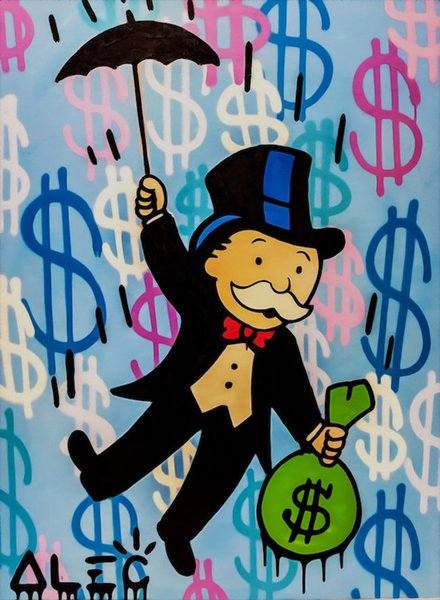 Alec Monopoly High Quality Handpainted & HD Print Abstract Graffiti Art Oil Painting UK Airplane On Canvas Wall Art Home Decor g86