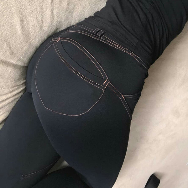 Women Casual Elastic Imitation Jeans Leggings Denim Blue Push Up Leggings Fashion Female Black Cotton Pocket Leggings Plus Size C19040801